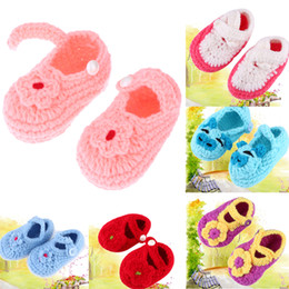 Wholesale Crochet White Baby Booties - Fashion Buckle Baby Boy Shoes Handmade Knitting Crochet Booties Cheap Baby girl Crochet Shoes Casual Crib