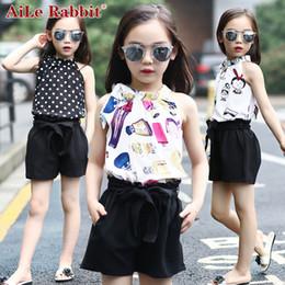 Wholesale Silk Shirts Girls - R&Z Girls Clothing Sets Chiffon Polka Dot Vests + Shorts 2 Pcs suit Summer Cartoon T-Shirts For Girls Kids Outfits