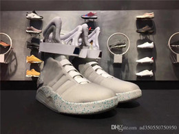 Wholesale 46 Led - Chear 2018 Air Mag Sneakers Marty McFly LED Shoes Back To The Future Light Up Shoes With Shoes Box Grey Red Black Glow In The Dark 40-46
