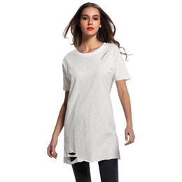 5216c4521d3cc XL Women Ripped Holes Long T-Shirt Dropped Shoulder O Neck Short Sleeve Tee  Shirt Femme Destroyed Long Casual Punk Top Tee White