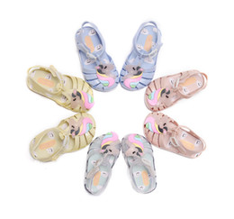 transparent jelly crystals flats Coupons - Melissa jelly shoes children colorful unicorn sandals girls hollow breathable princess sandals kids transparent crystal beach sandals F5278