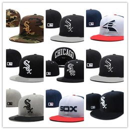 Wholesale Red Sox Hat Adjustable - Newest Chicago White Sox Fitted Cap Embroidered Team SOX Letter Flat Brim Hats Baseball Size Caps Brands Sports For Men Women