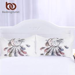 Oreillers de lune en Ligne-Beddingoutlet Moon Dreamcatcher Taie d'oreiller Plumes Taie d'oreiller Blanc Literie Taie d'oreiller New Hot Home 50x75cm