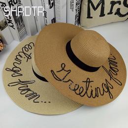 2017 lettre de mode broderie chapeau de soleil pliable dame chapeau de plage vacances style de vacances réglable grand avant-toit paille ? partir de fabricateur