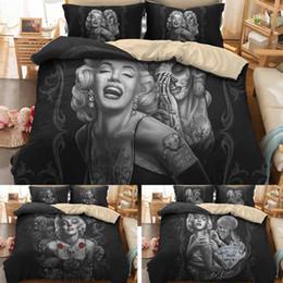 Tessili per la casa Decorazioni per la camera da letto Sexy Marilyn Monroe 3D Skull Print Set biancheria da letto Completo / Queen / King / California King Size Copripiumino 2 * Federa da