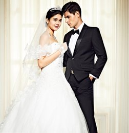Wholesale Costume Made Wedding Dresses - 2018 Mens Suits White Jacket Black Pants Summer Suit Beach Dress Men Suit Tuxedo Wedding Traje De Novio Costume 2Pcs