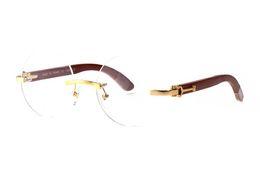 0f07733fcf6 2018 New Men Plain Mirror Glasses Rimless Clear Brown Lenses Metal Alloy  wooden Leg Buffalo Horn Eyewear Sunglasses Oculos Lunette De Soleil