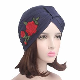 Wholesale Turban Headband Wrap Cap - 2017 new Women Stretchable Cotton Turban Hat with rose flower embroidery Headband Wrap Chemo Bandana Hijab Pleated Indian Cap