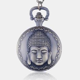 pingentes de buda de bronze Desconto Vintage Bronze Buda Quartzo Relógio De Bolso Colar Pingente Melhores Presentes