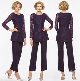 madre púrpura traje púrpura Rebajas Púrpura, madre de la novia, trajes de pantalón para bodas, dos piezas, encaje, apliques, manga larga, madres, ropa formal, atuendo, ropa barata DH363