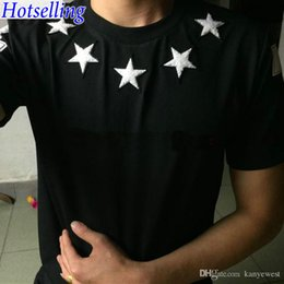 Wholesale Red Hot Printing - 2017 Hot sell Brand tag clothing men short sleeve t-shirt kanye west t shirt White five pointed star flock printing tshirt Camiseta tee tops