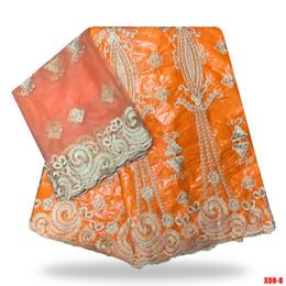 tecidos africanos alaranjados do laço Desconto Laranja africano Bazin riche getzner tecido com contas guanché brocado tecido na china Bazin rendas para vestido de noiva B180814 / 1
