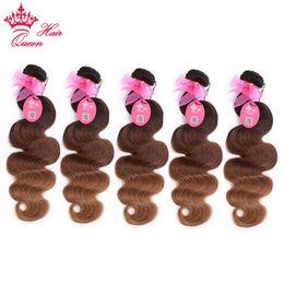 Wholesale Wholesale Virgin Hair Companies - Queen Hair Company Ombre Color Brazilian Hair Body Wave Bundles T2 6 27 Virgin Human Hair Weaving 5pcs lot DHL Free Shipping