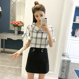 2018 new fashion sweet lady short sleeved blouses plaid women tops peter  pan collar women clothing summer casual shirts 0426 40 a0ef71803