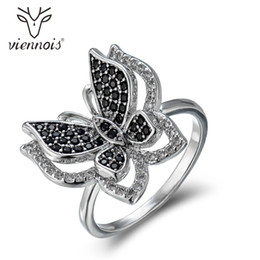 Wholesale cocktails rings - whole saleViennois Fashion Jewelry Silver Color Cocktail Rings For Women Black Zircon Butterfly Female Party Finger Ring