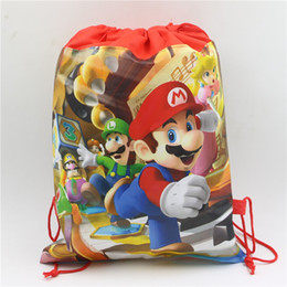 cartoon gift paper Coupons - Red Cartoon Mario Gift Bags Drawstring Non-woven Fabric Gift Bags Kids Favors Baby Shower Birthday Party supplies for Child mochila