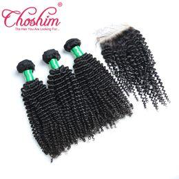 Canada Choshim Kinky Curly base de soie fermeture avec des faisceaux de cheveux 5 pcs lot Remy Indien cheveux humains avec fermeture Weave cheap silk base closure indian remy Offre