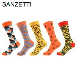 Смешные якорь шаблон SANZETTI 5 пар/много мужская Cutus полоску хлопок носки красочные носки с ума мужчин нам размер 7,5-12 от
