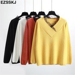 8e4e7a8221 2018 NEW Autumn Winter Women Sweater Pullovers Knit Top sweet Jumper Warm Female  Neckline lace Thick Sweaters V-neck girl pull
