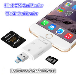 Wholesale Flash Memory Iphone - 3 in 1 i-Flash Drive Multi-Card OTG Reader Micro SD & TF Memory USB Card Reader Adapter for iPhone 8 7 6 Andriod PC