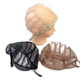 Chapeaux de base de perruque en Ligne-Perruque faisant la base Capuchon intérieur à armure réglable Taille unique Tissage respirant Dentelle Net chapeau de perruque noir brun couleur blonde