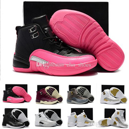 Wholesale Childrens Kids Shoes - 12 Boys Girls Kids Basketball Shoes black pink Childrens 12s Gym Red 12s Barons Wolf Grey Sports Shoes Birthday Gift
