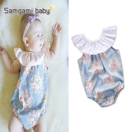 Wholesale Dolls Baby Clothes - romper INS 2018 Europe and America styles Baby kids summer doll collar flower printed romper clothes girl infant romper free shipping