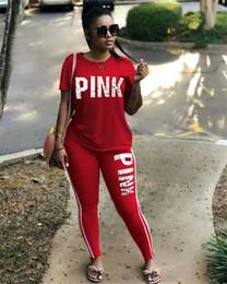 Wholesale Martial Arts Outfit - Women Short Sleeve Pink Letter Print 2 Pieces Outfits Jumpsuit Sport Sweatsuit 8 color summer Tshirts + pant sports wear leisure suit 2018