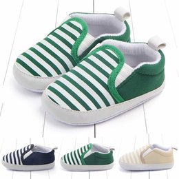 328ed618eb8 0-1 años Zapatos de bebé 100% Algodón Antideslizante suave y suave  Zapatillas de deporte de rayas de color azul marino de moda para bebés y  niños pequeños ...