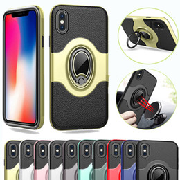 Wholesale Note Magnetic Case - Magnetic Holder Case Car Holder Armor Leather PC Case Cover For iPhone X 8 7 Plus Samsung Galaxy Note 8 S8 S7 Edge Plus J7