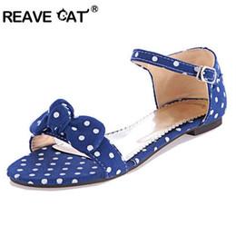 Wholesale Big Bottom Sandals - REAVE CAT Big Size 34-43 Sweet Polka Dot Bow shoes Transpierce Gentlewomen Brief Hasp flat-bottomed Female Sandals Summer flat