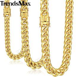 Hornfarbe halskette online-Trendsmax Miami Curb Cuban Herren Halskette Kette aus Edelstahl 316L Hip Hop Silber Gold Farbe 12.08 / 14mm KHNM19