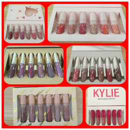 Wholesale Matte Lipgloss - IN STOCK!! Kylie Jenner brithday lipgloss & KYLIE holiday lip golss &Matte and velvet Liquid Lipstick Valentines free shipping