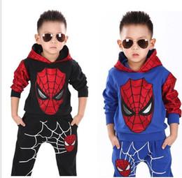 2019 tuta di natale 2 pz 1 set Abbigliamento Per Bambini Set Spider-man Bambino Abbigliamento Per Bambini Set Regalo Di Natale Con Cappuccio Tops Pantaloni Tute Sportive Tute Sportive KKA5700 tuta di natale economici