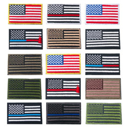 Wholesale Military American Flag - 15 Colors 8*5cm US Flag Tactical Military Patches Gold Border American Flag Iron on Patches Applique Jeans Fabric Sticker CCA9449 120pcs
