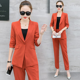 3cd7a9c4421d Women Autumn Formal Blazer OL Pant and Jacket Set Solid Uniform Office  Business Suits