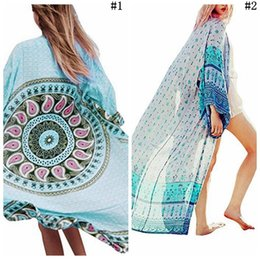 Wholesale bohemia swimsuit - Women Bohemia Prevented Bask Loose Blouse Summer Beach Cover Up Beach Clothing Bikini Smock Shirt Swimsuit Cover Up LJJO4301