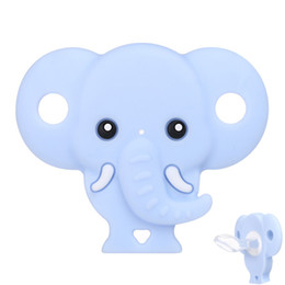 Chupetas azuis on-line-Chupeta do bebê Bonito Elefante Forma Manequim Food Grade Silicone Seguro Soothers Infantil Mordida Mamilo Chupetas Rosa Azul