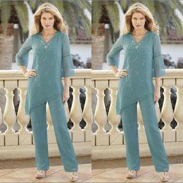Vestidos modestos mulheres formal on-line-2020 Modest Chiffon Bainha Mãe da noiva Pant ternos Cusotm Feito V Neck com mangas compridas lantejoulas formais Vestidos Mulheres BO7072