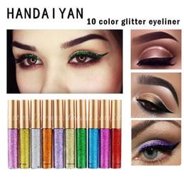 Wholesale High Luster - High quality goods HANDAIYAN shiny liquid eyeliner 10 color metallic luster eye shadow hot sale Free Shipping