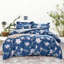 Wholesale Duvet Set Aqua Blue - cotton fabric bedding set four pieces per set bed sheet bed cover and two pillow case flower designs mutual color Ming yang 201899