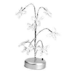 Wholesale led butterfly tree - Colorful Butterfly Bonsai Tree LED Light Bonsai Tree Night Light Table Plastic Crystal Ornament Lamp Home Decorations USB Cable