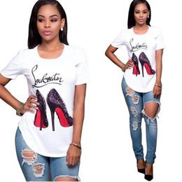 Wholesale Heels Caps - Free Shipping 2018 Summer Cotton Women 3D Digital Sexy High Heels Printing T-shirt For Women White Short Sleeve T Shirt