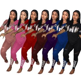 Wholesale ski climbing - PINK Letter Women Sports Suits Pants T-Shirts Short Sleeve V-neck Sets Print Sequins Tees Tops Shirts Trousers Leggings S-XXXL 7 Color PB ME