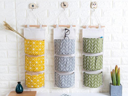 Wholesale Eco Bags Linen - Simple fashion wall hanging storage bag 3 grids cotton linen closet hanging storage bag for living room bedroom small item storage free ship