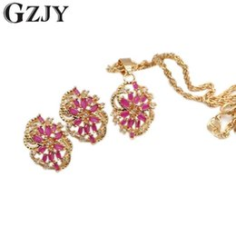 Wholesale Rich Jewelry - whole saleSUMPTUOUS! NATURAL TOP HIGH QUALITY RICH RED CZ NECKLACE EARRING GOLD JEWELRY SET I04-1