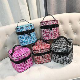 Wholesale Printing Colors - Pink Letter Cosmetic Bag Letter Print Makeup Bag Women Travel Nylon Make Up Bags Zipper Portable Storage Bag 5 Colors OOA4019