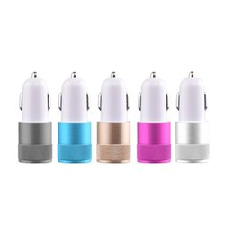Wholesale Micro Usb Car Charge - Universal Colorful Car Phone Mini Charger Round Square Quick Charge Adapter 2.1A 1.0A Micro auto power Adapter Nipple Dual USB 2 Port