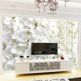Flores de papel tapiz de la vida moderna online-Moderno abstracto White Pearl Jewelry Flowers 3D Stereo Mural Wallpaper Living Room Telón de fondo Arte Papeles de pared para Paredes 3 D