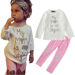 0222e552ae961 Baby letter outfits girls My MOM is my Stylist print top+Heart-shaped  sequins pants 2pcs set 2018 Boutique kids Clothing Sets on sale